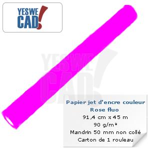 Rouleau de papier jet d'encre rose fluo - 91,4 cm x 45m - 90 g/m²