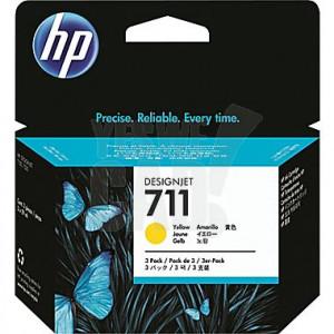 HP 711 - CZ136A - Cartouche d'encre - 3 x jaune - Pack de 3 x 29 ml