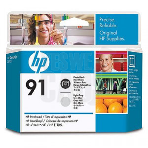 HP 91 - C9463A - Têtes d'impression d'origine - 1 x noir photo et 1 x gris clair