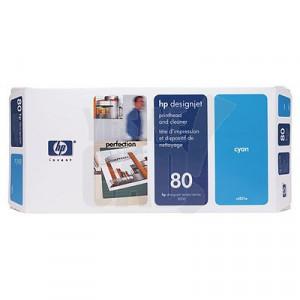 HP 80 - C4821A - Tête d'impression d'origine et dispositif de nettoyage - 1 x cyan