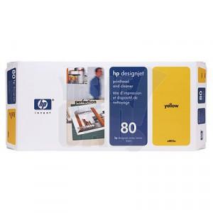 HP 80 - C4823A - Tête d'impression et dispositif de nettoyage - 1 x jaune