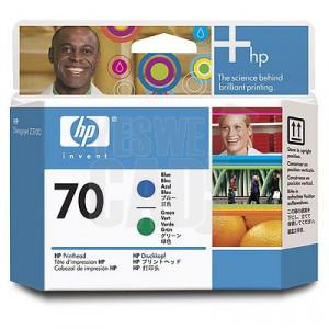 HP 70 - C9408A - Têtes d'impression d'origine - 1 x bleue et 1 x verte