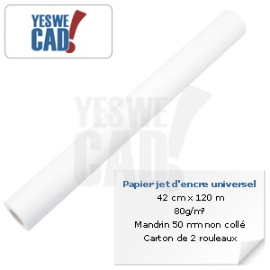 YESWECAD - Rouleau de papier jet d'encre universel - 42 cm x 120 m - 80 g/m²