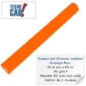 Rouleau de papier jet d'encre orange fluo - 91,4 cm x 45m - 90 g/m²