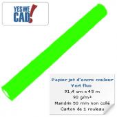 Rouleau de papier jet d'encre vert fluo - 91,4 cm x 45m - 90 g/m²