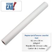 Rouleau de papier jet d'encre couché mat - 61 cm x 30 m - 180 g/m²