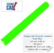 YESWECAD - Rouleau de papier jet d'encre vert fluo - 61 cm x 45m - 90 g/m² - Carton x 1 rouleau