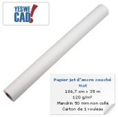 YESWECAD - Rouleau de papier jet d'encre couché mat - 106,7 cm x 35 m - 120 g/m² - Mandrin non collé - Carton x 1 rouleau