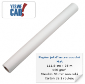 YESWECAD - Rouleau de papier jet d'encre couché mat - 111,8 cm x 30 m - 125 g/m² - Mandrin non collé - Carton x 1 rouleau