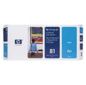 HP 81 - C4951A - Tête d'impression teintée et dispositif de nettoyage - 1 x cyan