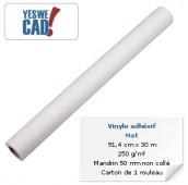 Rouleau de vinyle adhésif mat - 91,4 cm x 30 m - 250 g/m²