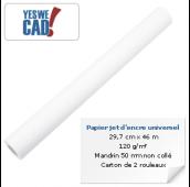 YESWECAD - Rouleau de papier jet d'encre universel - 29,7 cm x 46 m - 120 g/m²
