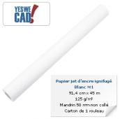 Rouleau de papier jet d'encre ignifugé M1 blanc - 91,4 cm x 45m - 125 g/m²