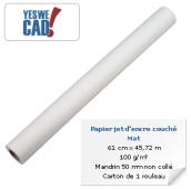 YESWECAD - Rouleau de papier jet d'encre couché mat - 61 cm x 45,7 m - 100 g/m²
