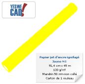 Rouleau de papier jet d'encre ignifugé M1 jaune - 91,4 cm x 45m - 130 g/m²