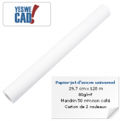 YESWECAD - Rouleau de papier jet d'encre universel - 29,7 cm x 120 m - 80 g/m²