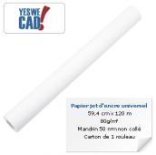 Rouleau de papier jet d'encre universel - 59,4 cm x 120 m - 80 g/m²